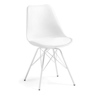 Lakota PU Leather Dining Chair, Steel Leg, White