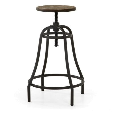 Frazier Steel Indoor/Outdoor Bar Stool with Bamboo Seat, Anthracite