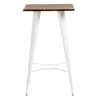 Frazier Steel Indoor/Outdoor Square Bar Table with Engineered Wood Top, 60cm, White