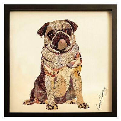 Merritt Framed Wall Art Print, Pug Pup, 65cm, Black Frame