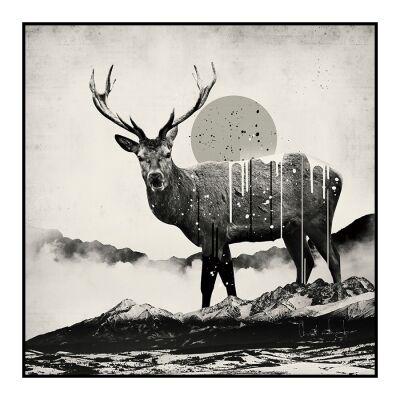 Deer Abstract Framed Wall Art Print, 60cm