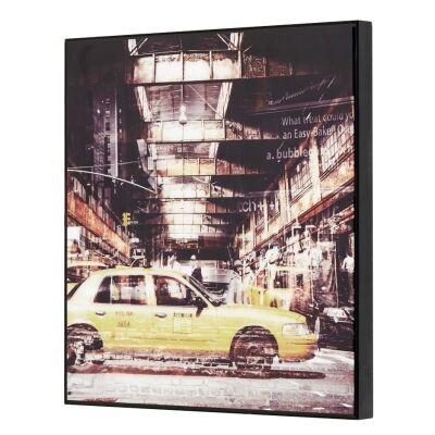 Urban Framed Wall Art Print, NY Cab Service, 40cm