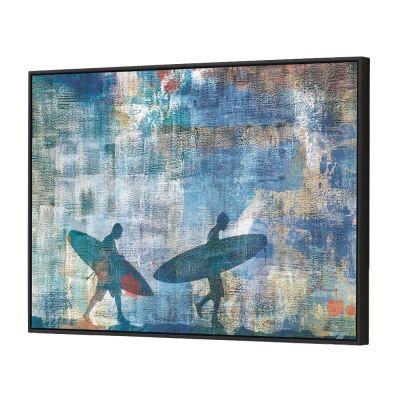 Surfer Silhouette Framed Canvas Wall Art, 90cm