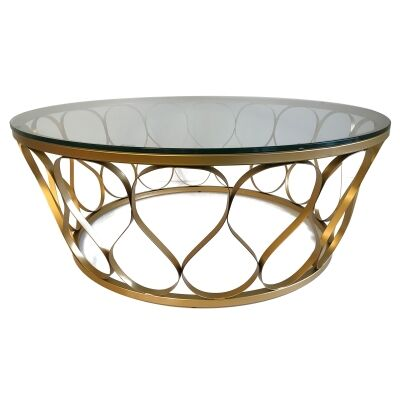 Castlereagh Glass Topped Metal Round Coffee Table, 100cm