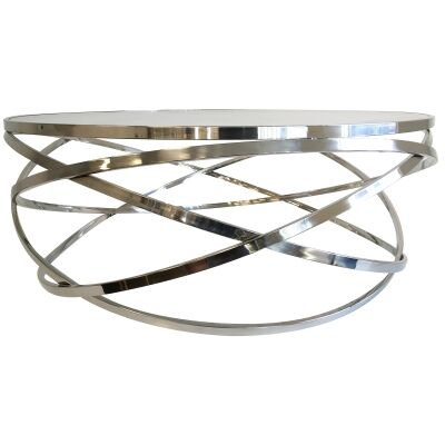 Grose Glass Topped Metal Round Coffee Table, 100cm