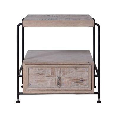Harrison Oak Timber & Metal Side Table