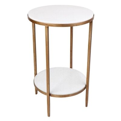 Chloe Stone & Iron Side Table, Antique Gold