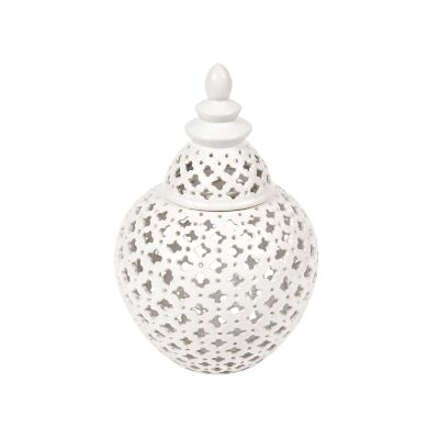 Miccah Porcelain Temple Jar, White, Large