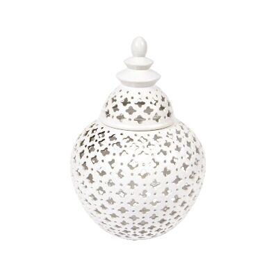 Miccah Porcelain Temple Jar, Medium, White