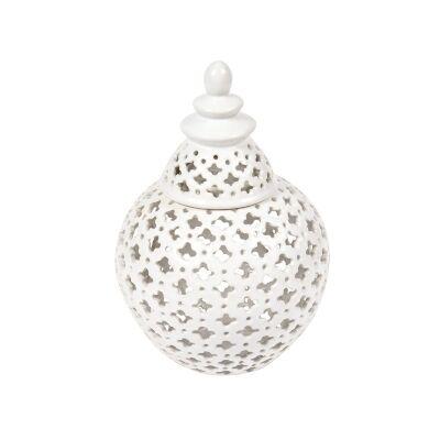 Miccah Porcelain Temple Jar, Small, White