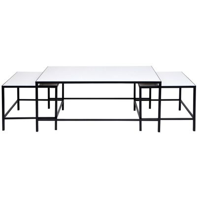 Cocktail 3 Piece Stone Top Iron Nested Coffee Table Set, Black