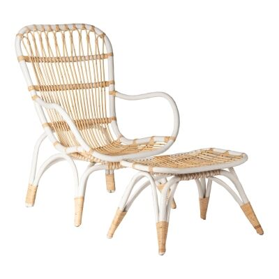 Tobago Rattan Lounge Armchair & Footstool Set, White