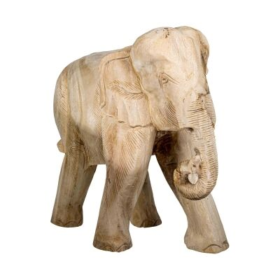 Chaney Teak Timber Elephant Figurine, Rolling Trunk, Bleached Natural