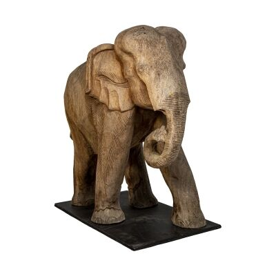 Chaney Teak Timber Elephant Figurine on Stand, Rolling Trunk, Brown