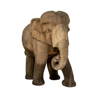 Chaney Teak Timber Elephant Figurine, Rolling Trunk, Dark