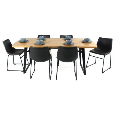Carina 7 Piece Wooden Dining Table Set, 200cm, with Perry Dining Chair