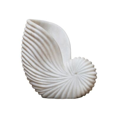 Lehriya Marble Conch Shell Decor, Large, White