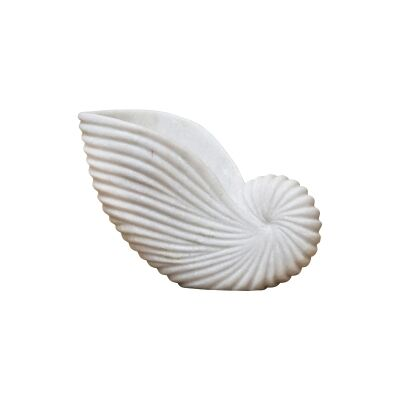 Lehriya Marble Conch Shell Decor, Medium, White