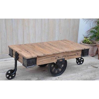 Industrial Reclaimed Railway Sleeper Timber & Metal 120cm Cart Coffee Table