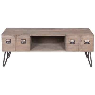 Crosby Reclaimed Pine Timber 2 Drawer TV Unit, 130cm