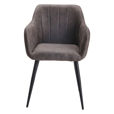 Lucille Ultrasuede Fabric Dining Armchair, Chamois Grey