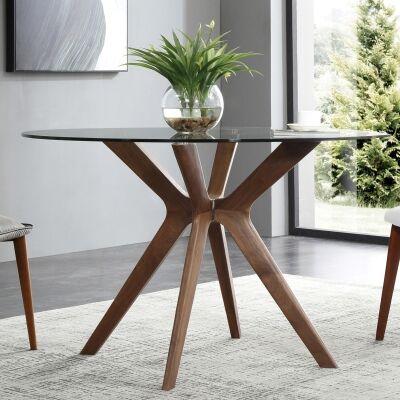 Forza Dining Table, Round, 120cm, Walnut