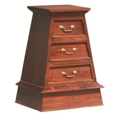 3 Drawer Pyramid Solid Mahogany Cabinet - Mahogany
