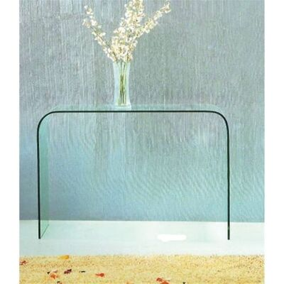 Bent Glass Hall Table in Clear Glass - 110 x 40 x 80 cm