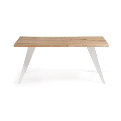 Neville Wood & Steel Dining Table, 180cm, Oak / White