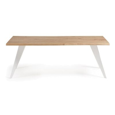 Neville Wood & Steel Dining Table, 220cm, Oak / White