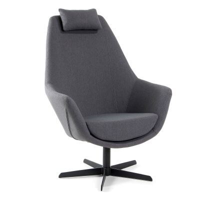 Filippo Fabric Lounge Armchair, Dark Grey