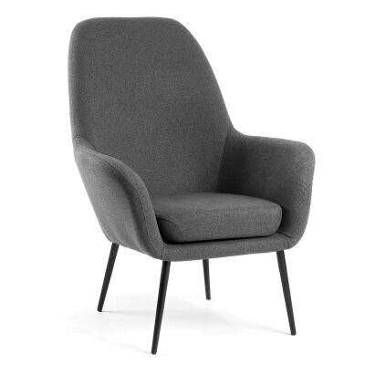 Lorenzo Fabric Lounge Armchair, Dark Grey