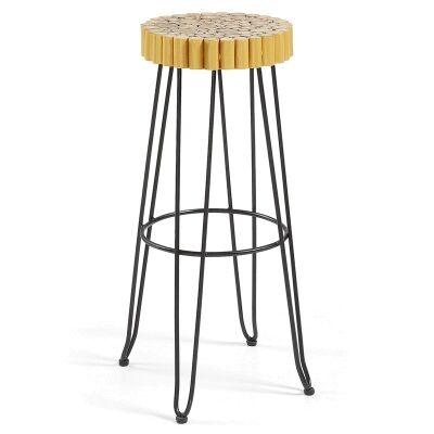 Evans Timber Seat Metal Counter Stool, Gold/Black