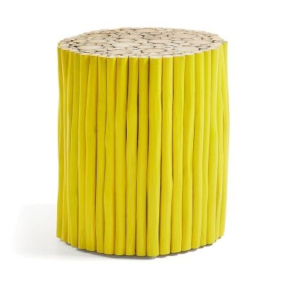 Phylip Solid Teak Timber Accent Stool, Yellow