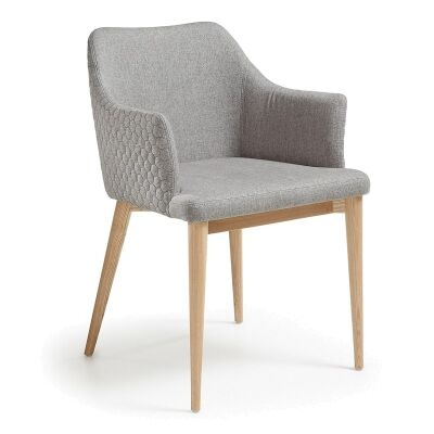 Danya Fabric Dining Armchair, Light Grey
