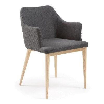 Danya Fabric Dining Armchair, Dark Grey