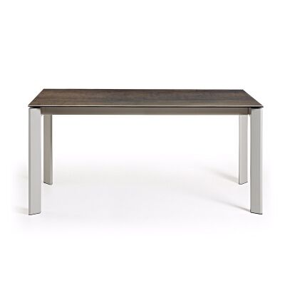 Rogen Ceramic Glass & Epoxy Steel Extendable Dining Table, 160-220cm, Iron Moss / Grey