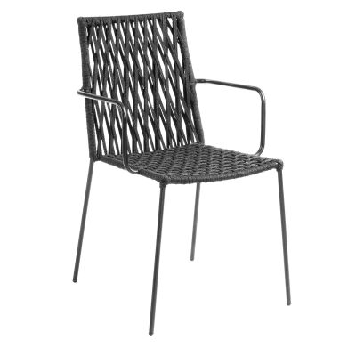 Tavros Rope & Steel Dining Armchair, Charcoal
