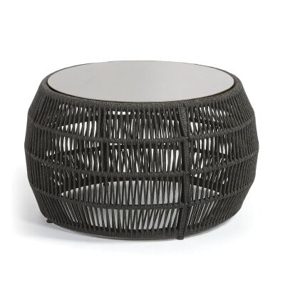 Karvalis Woven Rope Round Coffee Table with Poly Cement Top, 70cm