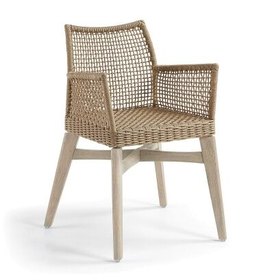Markoni Rope & Acacia Timber Dining Armchair, Beige