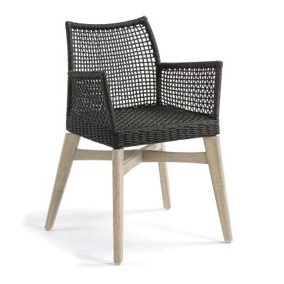 Markoni Rope & Acacia Timber Dining Armchair, Charcoal