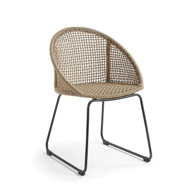 Ironda Rope & Steel Dining Chair, Beige
