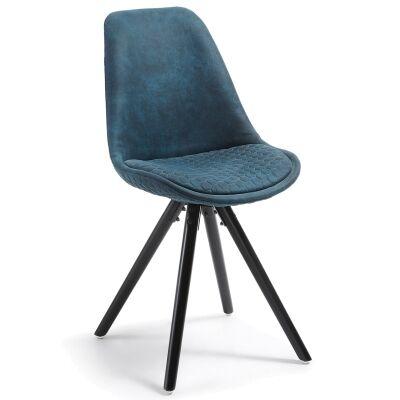 Lakota Fabric Dining Chair, Timber Leg, Blue / Black