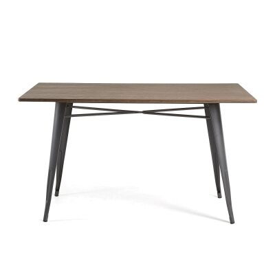 Frazier Steel Indoor/Outdoor Dining Table with Bamboo Top, 150cm, Anthracite