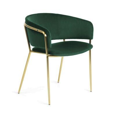 Huda Velvet Fabric Dining Armchair, Green / Brass