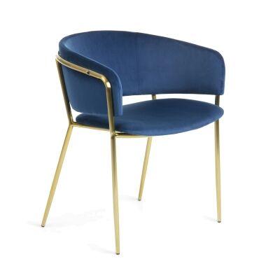 Huda Velvet Fabric Dining Armchair, Blue / Brass