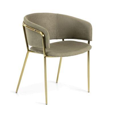Huda Fabric Dining Armchair, Light Grey / Brass