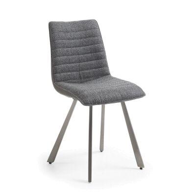 Aristida Fabric & PU Leather Dining Chair, Dark Grey