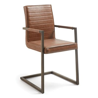 Tayten Faux Leather & Steel Dining Armchair, Tan