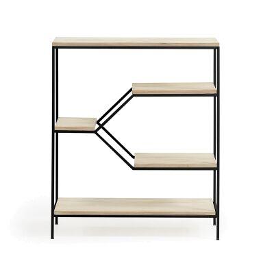 Prescott Steel & Mango Wood Display Shelf, Small, Black